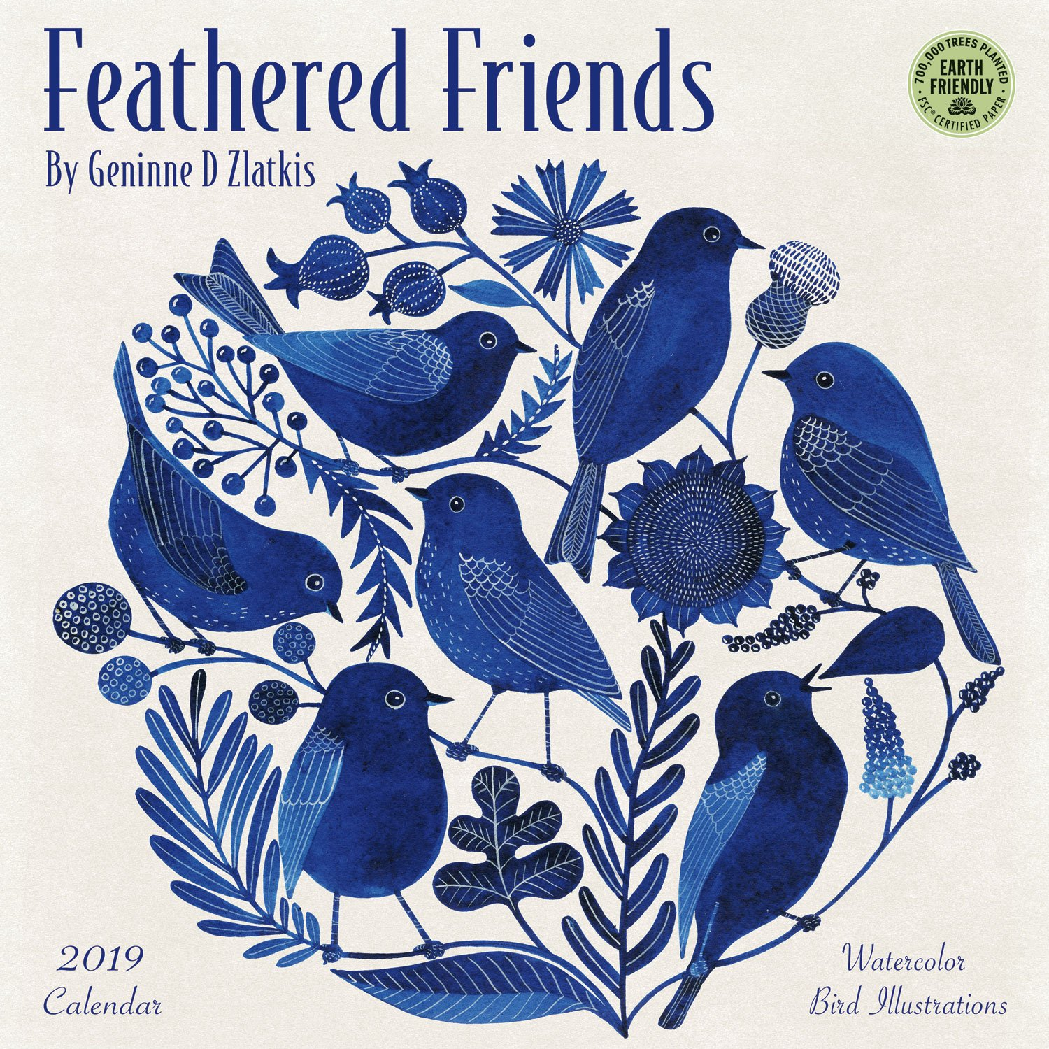 feathered friends 2019 wall calendar watercolor bird illustrations