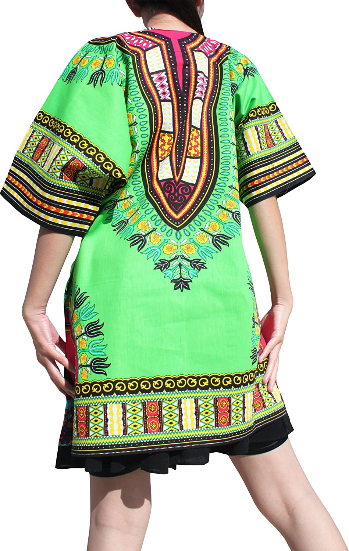 RaanPahMuang Dashiki Short Mini Dress Summer Long Cut Shirt Africa Plus