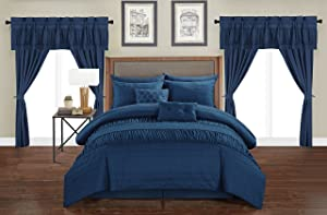 Chic Home Mykonos 20 Piece Comforter Set, King, Navy