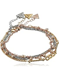 GUESS Women's Anklet Trio with Stones, Gold, One Size