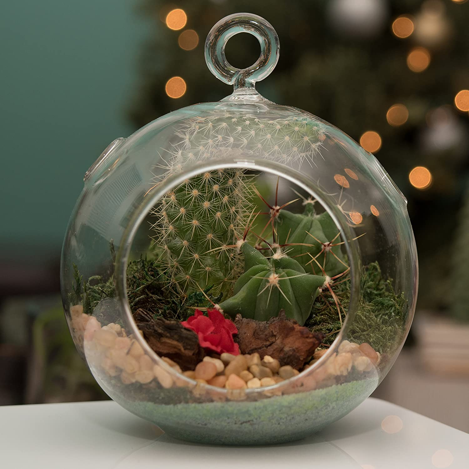 MyGift 7-Inch Large Clear Glass Hanging Air Plant Terrarium Ball Votive Candle Holder w Flat Base Loop Hook