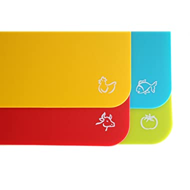 Set of 4 Flexible Cutting Board Mats With Labeled Food Icons - Extra Thick Plastic 2MM Nonslip Antimicrobial Easy To Clean Hanging Boards by Foodie Aid