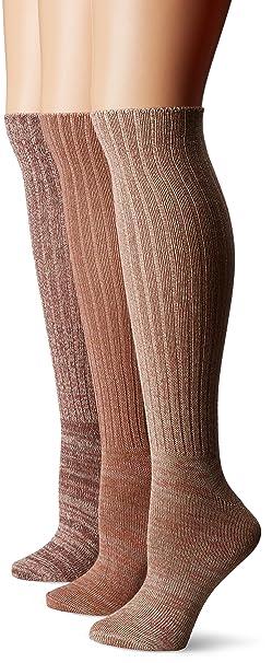 aa2344f1ed9 Muk Luks Women s 3 Pair Pack Marl Knee High Socks