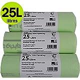 25 Litre x 75 bags 25L 100% Biodegradable & Compostable Kitchen Kerbside Bin Liners