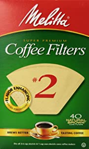 Melitta #2 Cone Coffee Filters, Natural Brown, 40 Count