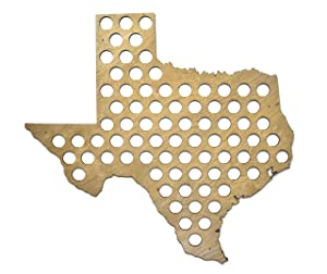 All 50 States Beer Cap Map - Texas Beer Cap Map TX - Glossy Wood - Skyline Workshop