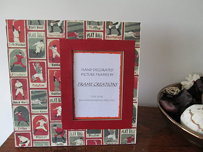 Amazon.com: 5x7 Baseball Themed - Hand Decorated Picture Frame: Handmade