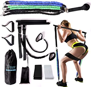 Big B Pro Adjustable Pilates Bar Home Gym Kit - 6 Cloth Covered Bands Up to 150lbs of Resistance, Heavy Duty Bar, Ankle Straps, Detachable Handles, Door Anchor, 2 Cloth Hip Bands - Full Body Workout