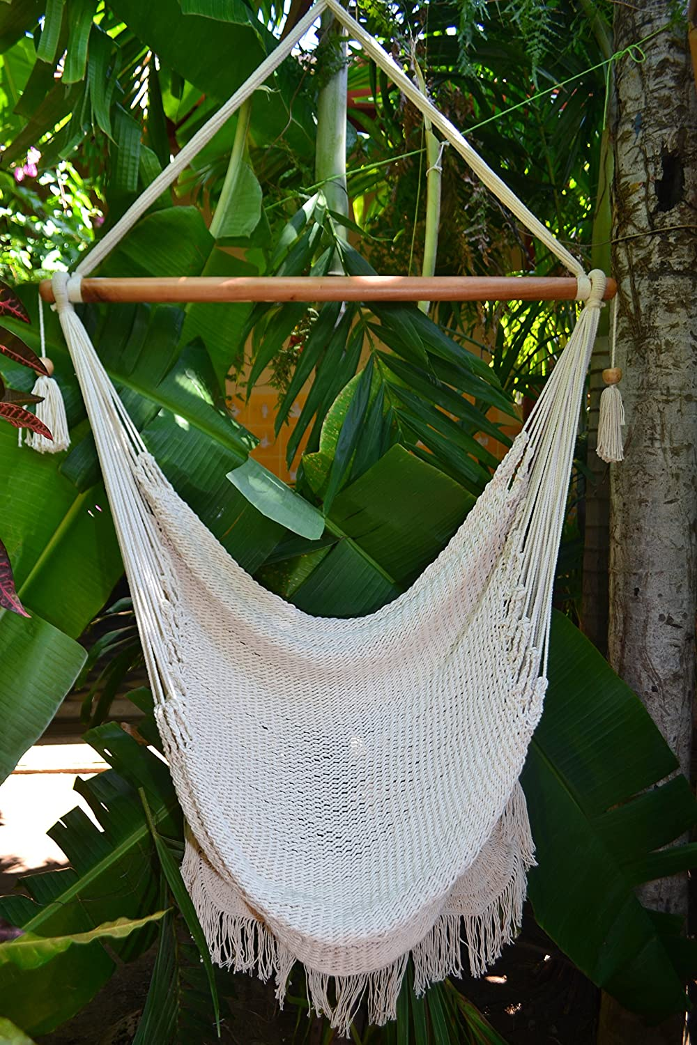 Attrayant Amazon.com: Hanging Hammock Chair Hanging Chair Cotton Rope Porch Swing  Seat With Wood Stretcher Bar Organic Handmade Off White Indoor Or Outdoor  Chair ...