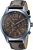 GUESS Men's U0789G2 Iconic Sky Blue Multifunction Watch with Brown Genuine Leather