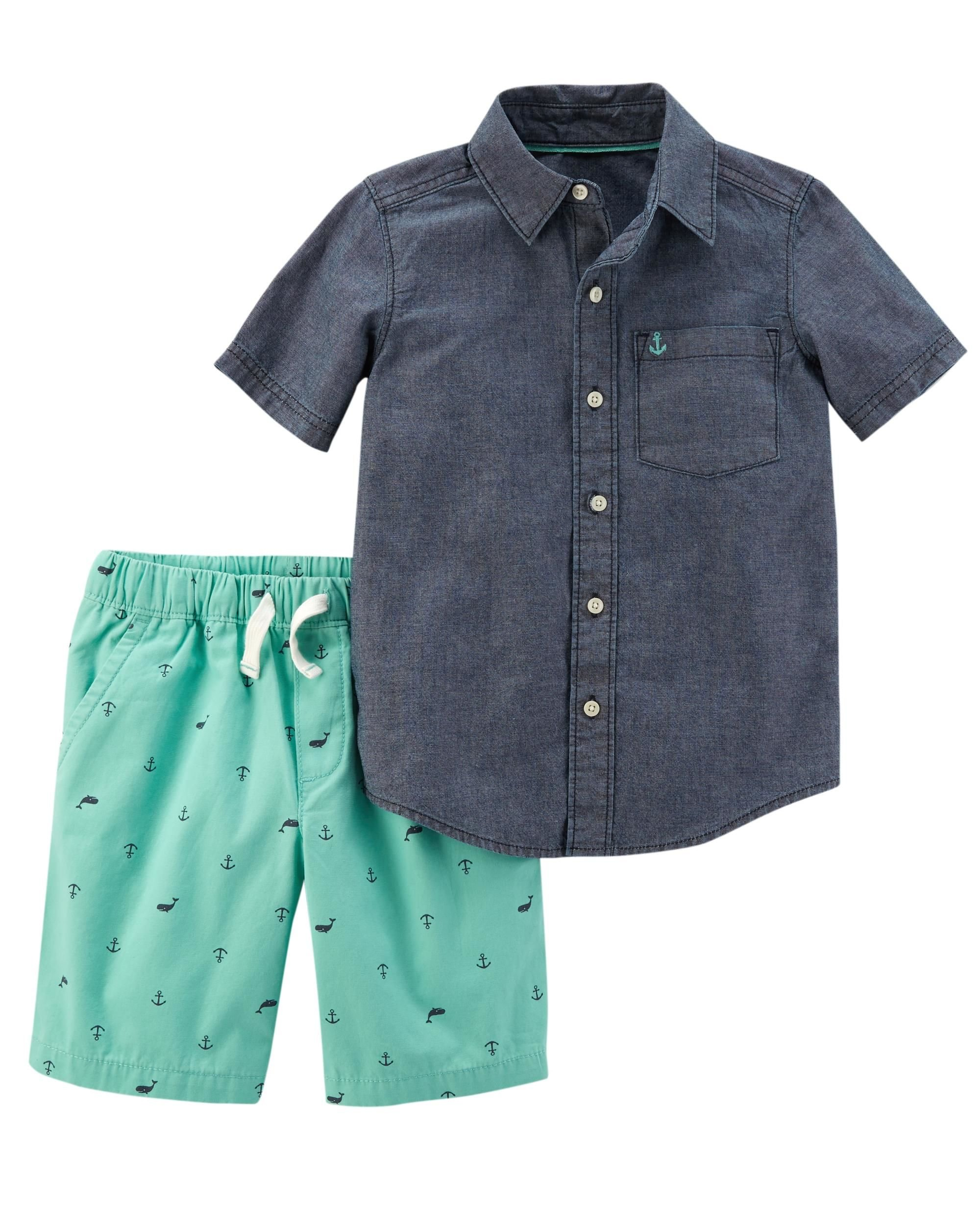 Carter's Boys' Newborn-5T 2 Piece Short Sleeve Sunglass Pocket Polo and French Terry Shorts Set (6 Months, Mint/Chambray)