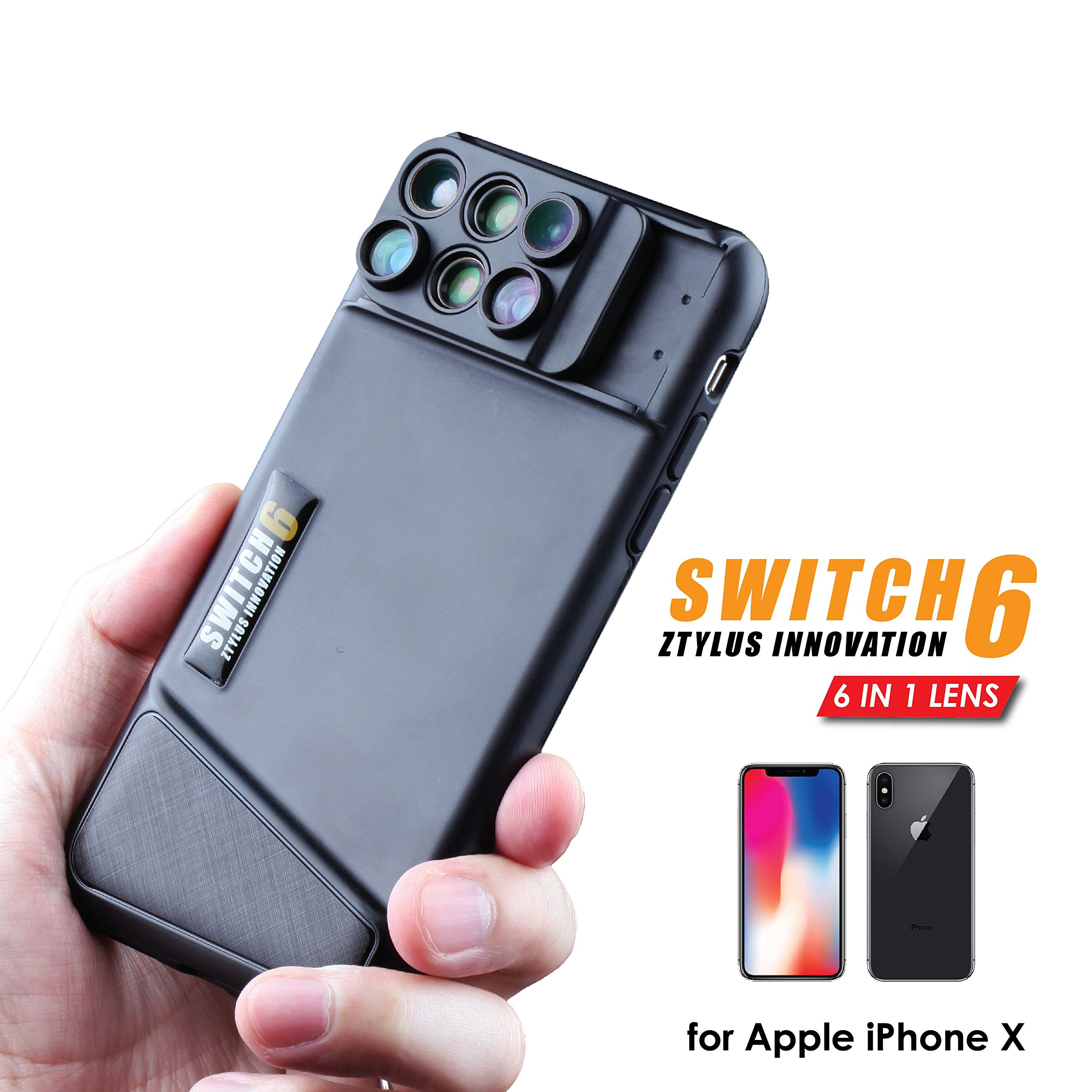 Ztylus Switch 6 for Apple iPhone X: 6 in 1 Dual Optics Lens System (Fisheye, Telephoto, Wide-angle, Macro and Super Macro), Double Layer Protection (Black)
