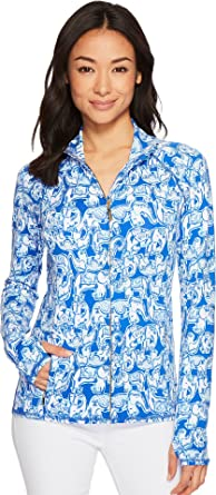 8fa9672aefef8a Lilly Pulitzer Women's Luxletic Serena Jacket Ikat Blue Get Trunky X-Large