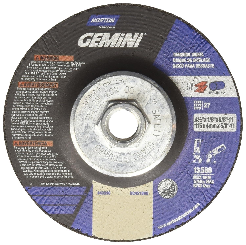 thick x 7//8 in. x 1//4 in Norton Gemini Grinding Wheel 4-1//2 in Dia