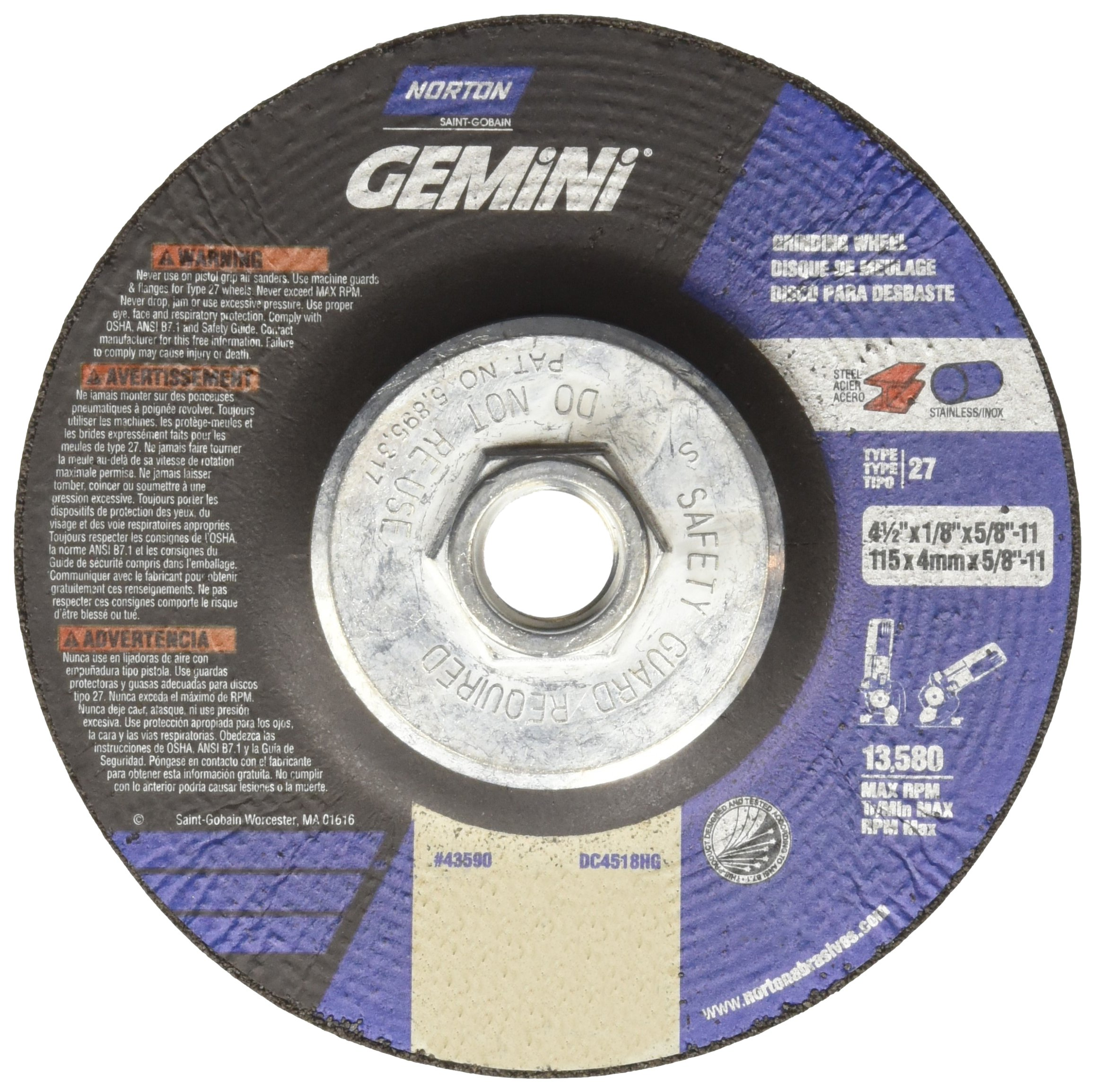 Norton Gemini Depressed Center Abrasive Wheel, Type 27, Aluminium Oxide, 5/8''-11 Hub, 4-1/2'' Diameter x 1/8'' Thickness   (Pack of 10)