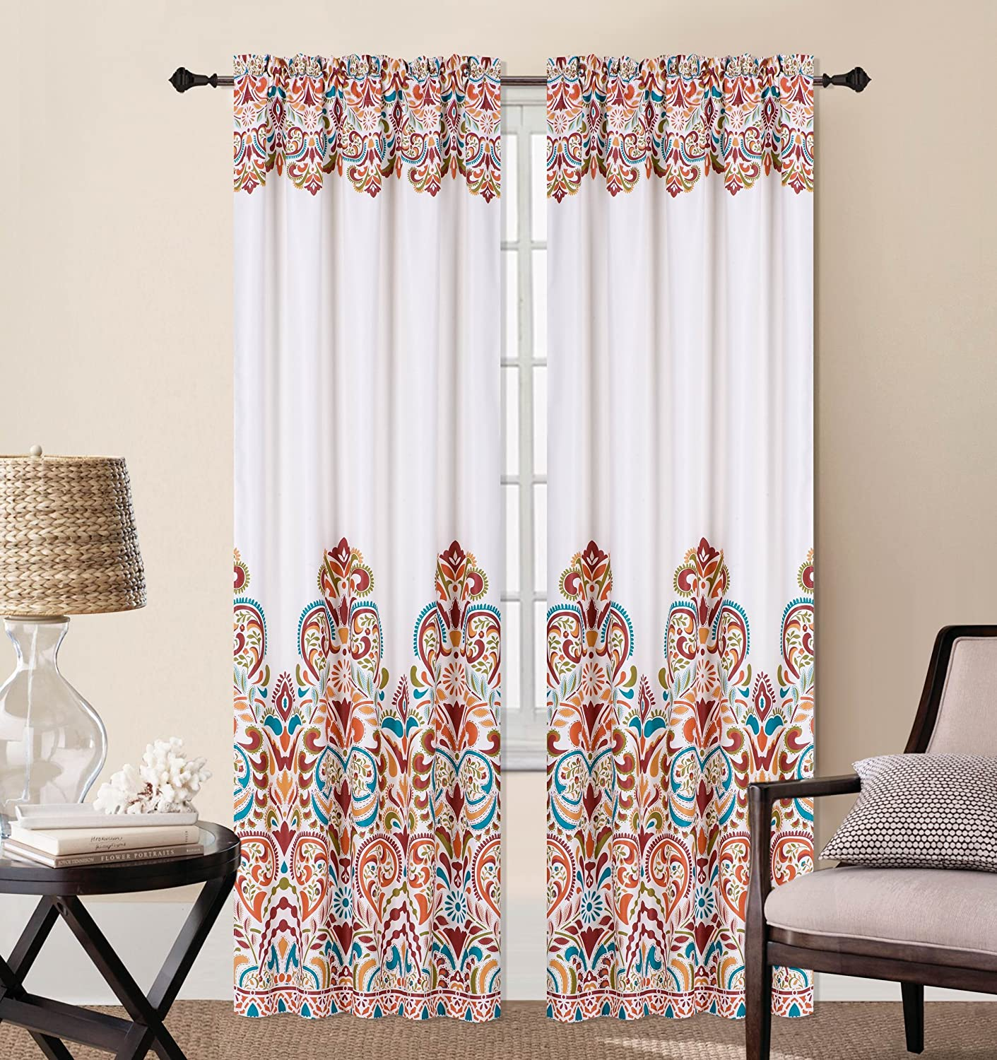 Luxury Discounts 2 Piece Colorful Room Darkening Window Curtain Panel Drapes Turquoise/Orange