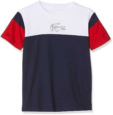 8645f3a74f Lacoste Sport TJ5383 T-Shirt Garçon Bleu (Blanc/Marine-Rouge Blanc A10