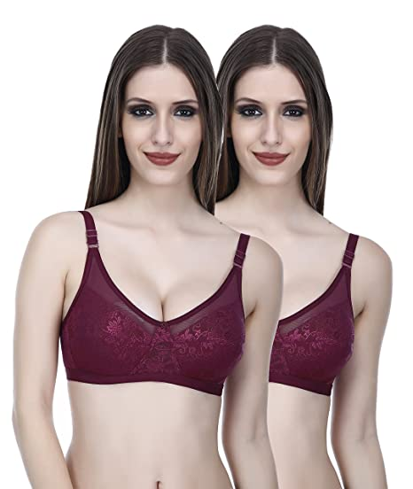 1d159c8a608f1 Elina Women s Black and Brown B Cup Full Coverage Net and Cotton Bra ...