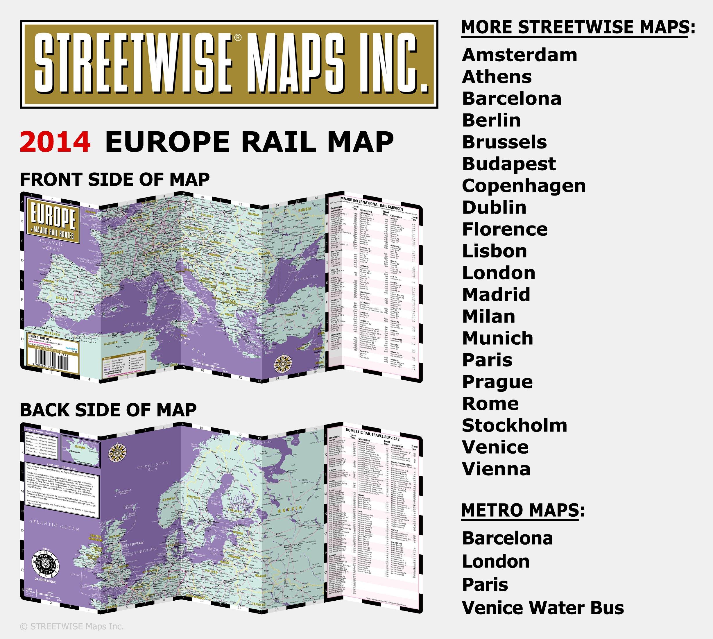 Streetwise Europe Rail Map Laminated Railroad Map of Europe