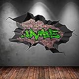 multi volle farbe personalisiert 3d graffiti name ausgebrochenes wandkunst aufkleber wandsticker. Black Bedroom Furniture Sets. Home Design Ideas