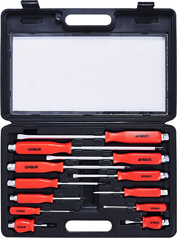 Amtech W5600 Mechanics Screwdriver Set Magnetic Tips, Steel Blade Flat Head Slotted and Phillips, Hex Bolsters use with Wrench or Socket: Amazon.co.uk: Car & Motorbike