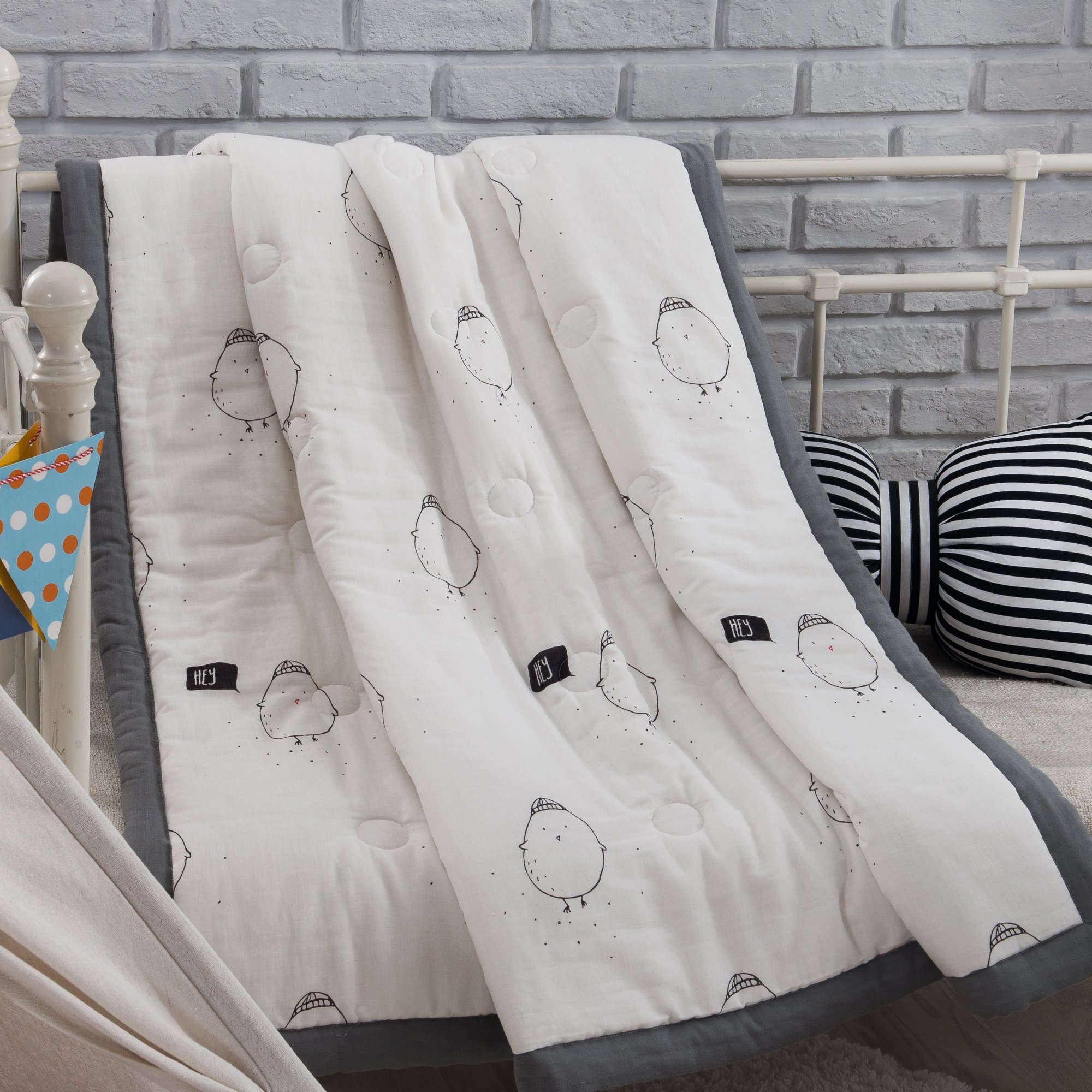 J-pinno Boys & Girls Cute Chick Muslin Quilt Comforter Bedding Coverlet, 100% Long Staple Cotton, Throw Blanket Twin/Full for Kid's Bedroom Decoration Gift (Full 78'' X 90'', chicken)