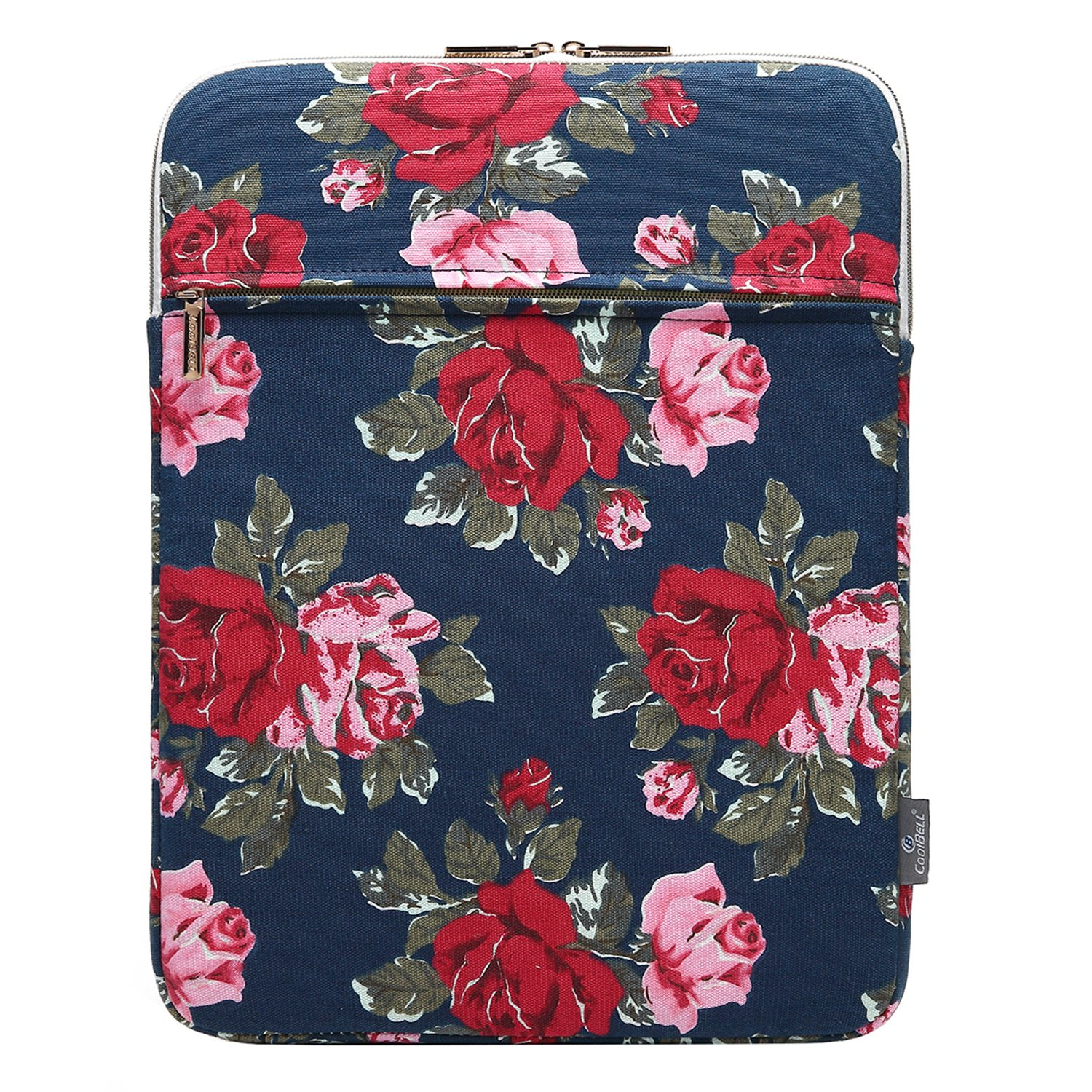 CoolBELL 12.9 Inch iPad Pro Sleeve Case Surface Pro 4 Cover With Accessory Pocket Fabric Sleeve Canvas Bag Exclusive For iPad Pro/Surface Pro 4/12'' New Macbook (New Peony Flower)