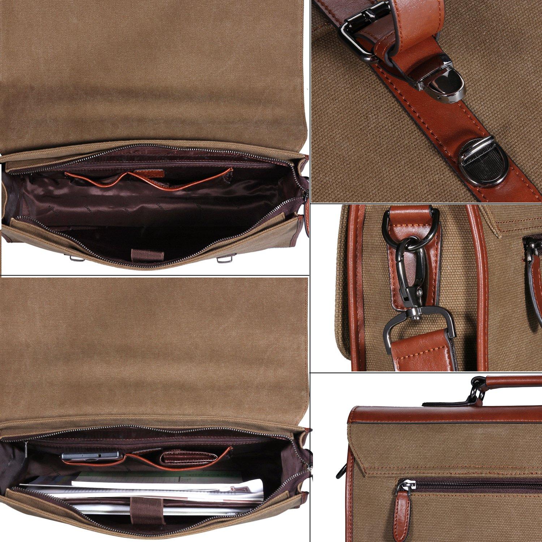 Banuce 13.3 inch Laptop Messenger Bag for Men Vintage Canvas Tote Briefcase Satchel Shoulder Bag by Banuce (Image #5)