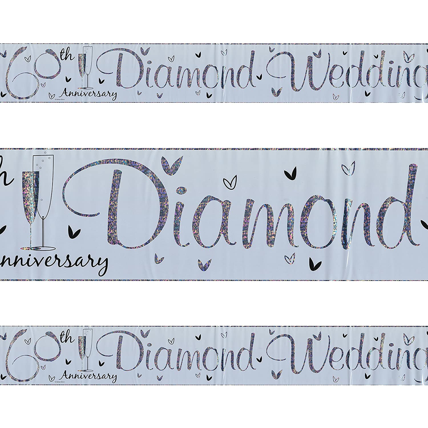 60th Diamond Wedding Anniversary Plastic Silver Holographic Banner 2.5m Oxford Novelties