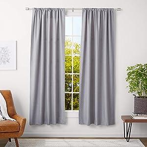 """AmazonBasics 1"""" Wall Curtain Rod with Cap Finials - 36"""" to 72"""", Nickel"""