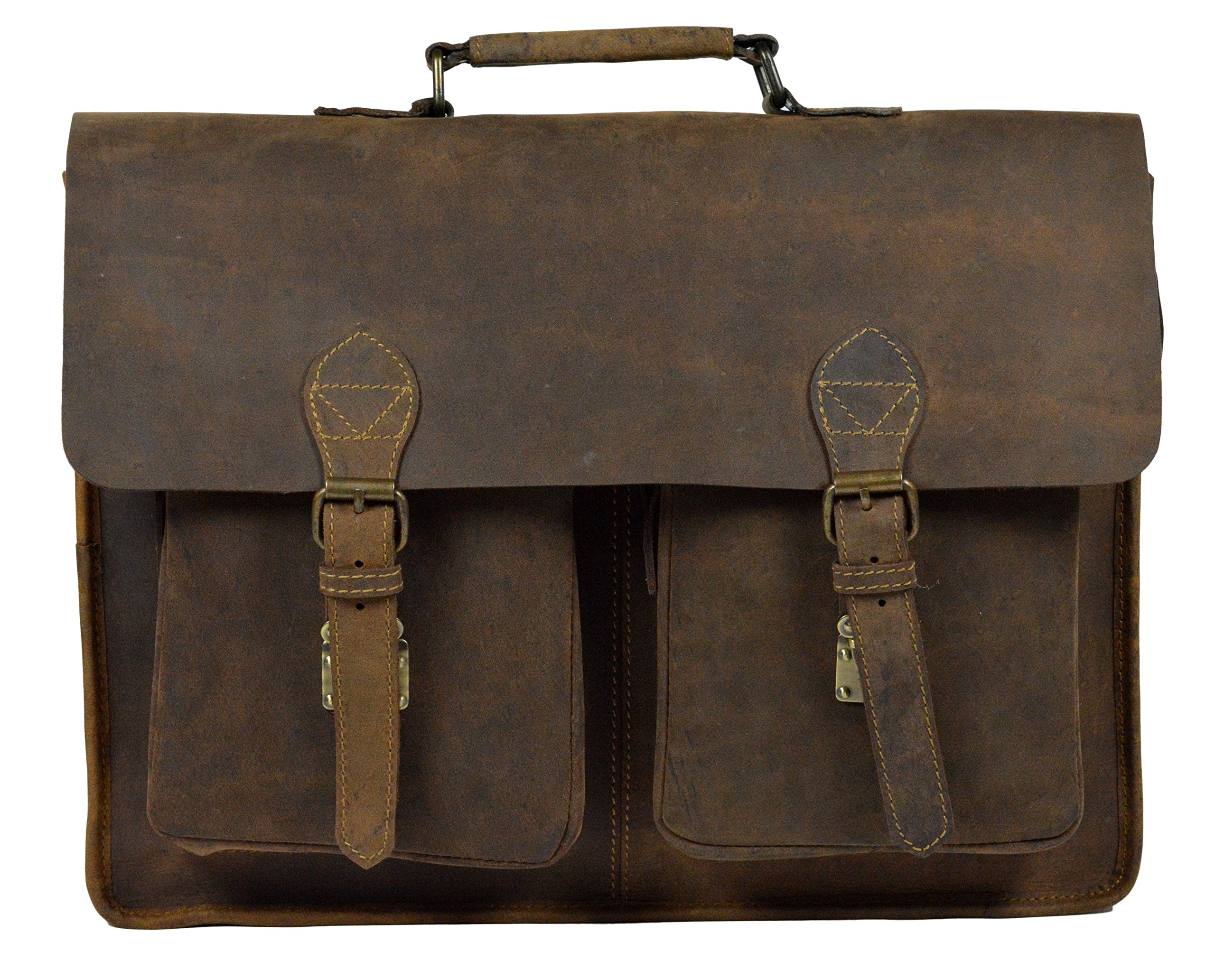 ADIMANI Vintage Crazy Horse Hunter Leather Laptop Briefcase Bag Notebook Case Travel Messenger Bag 16x12 inches Unisex Bag