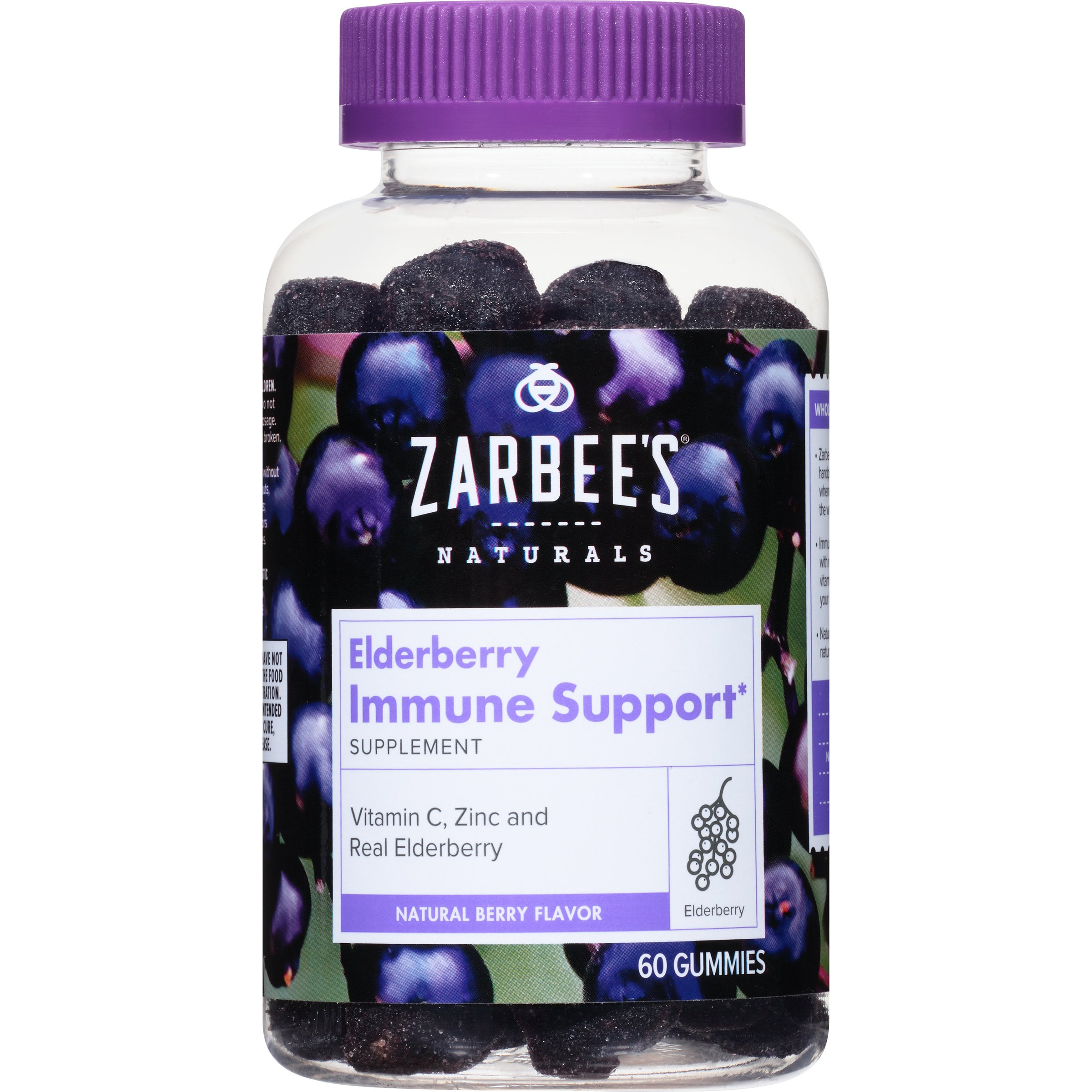 Zarbee's Naturals Elderberry Immune Support* Gummies, With Vitamin C, Zinc & Real Elderberry, 60 Gummies (1 Bottle) Supports the Immune System*