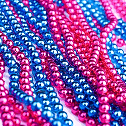 amazon com qyler pink and blue baby gender reveal beads 40 set 5mm
