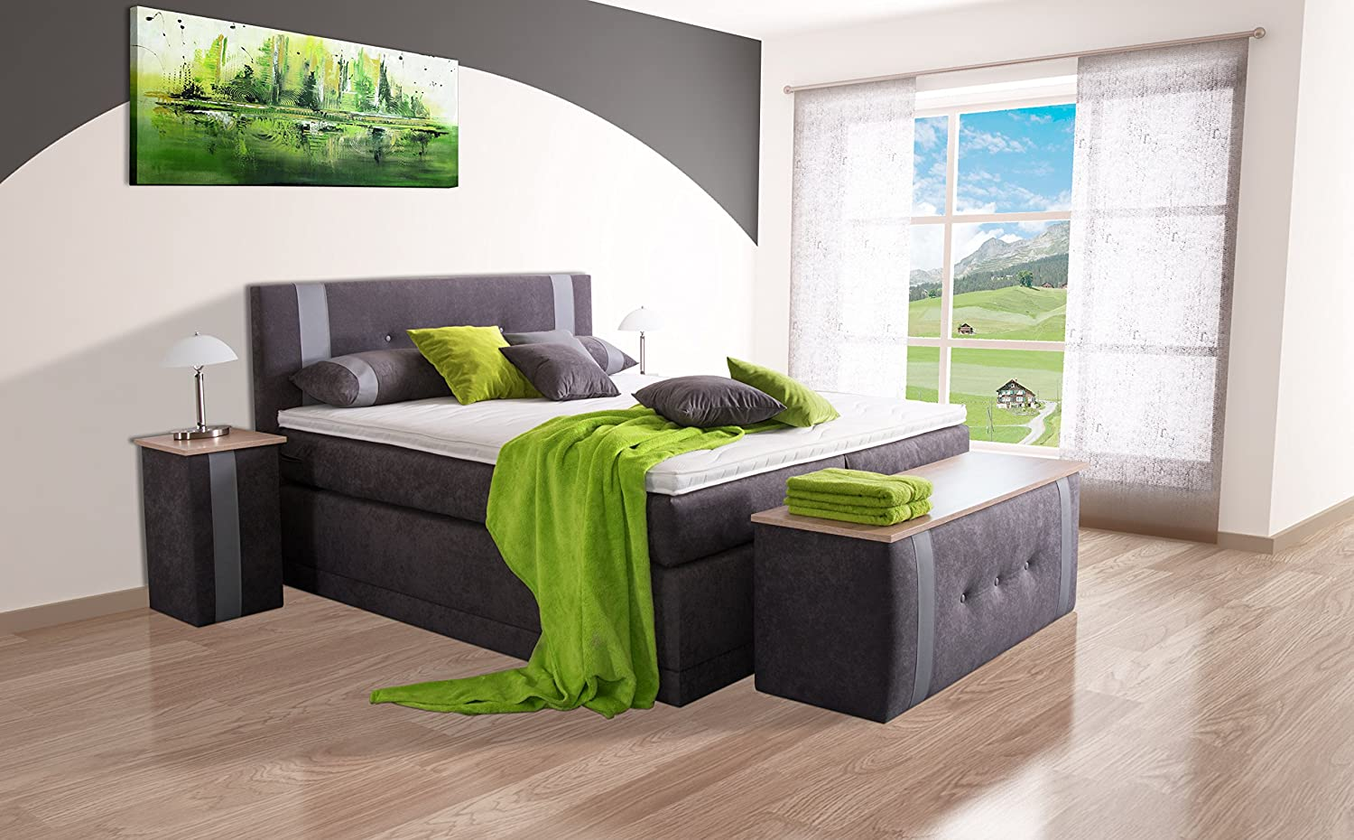 boxspringbett lupo sb auch mit bettkasten oder elektrisch erh ltlich 80x200cm 90x200cm. Black Bedroom Furniture Sets. Home Design Ideas