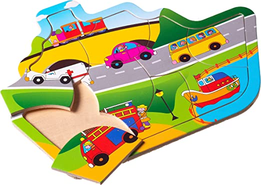 Eliiti Wooden Vehicles Jigsaw Puzzle for Boys Toddlers 2 to 4 Years Old Toy