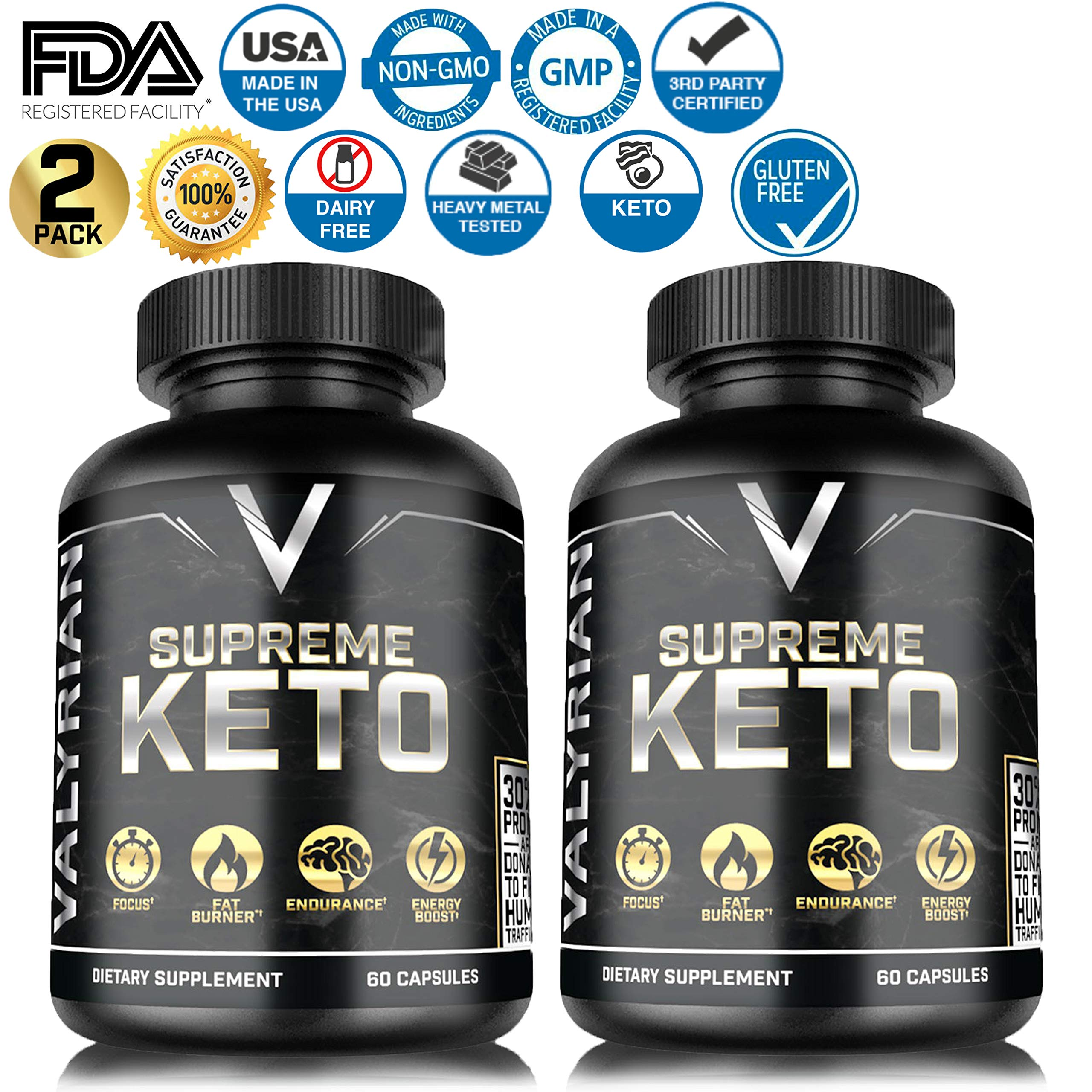2 Pack Keto Pills - Ketogenic Burner - for Women & Men - Promotes Healthy Energy Levels - Appetite Suppressant - Carb Blocker - Keto Platinum - 60 Capsules - Keto Burn 800 mg Weight Management Pills