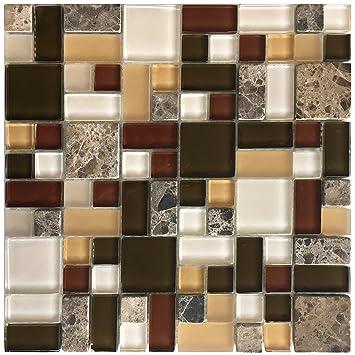 Autumn Garden Gps01 Yellow Green Burgundy Puzzle Glass Stone - Mosaic-tile-backsplash-model