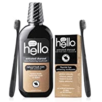 Hello Oral Care Activated Charcoal Fluoride Free & SLS Free Whitening Toothpaste Starter Kit with Extra Freshening Mouthwash & 2 Charcoal Bristle BPA-Free Toothbrushes Bundle