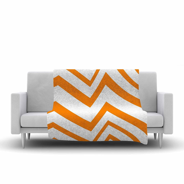 Kess InHouse NL Designs Zigzag Orange Tangerine White Fleece Throw Blanket 40 by 30-Inch 40 X 30