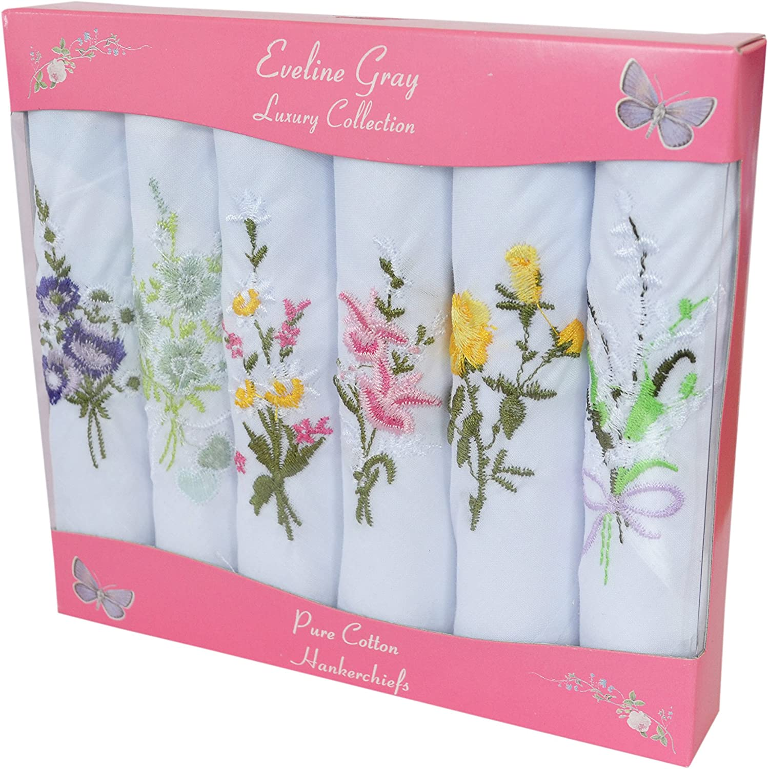 6 Pack Womens//Ladies Dyed /& Floral Embroidered Handkerchiefs 100/% Pure Cotton In /& Gift Box