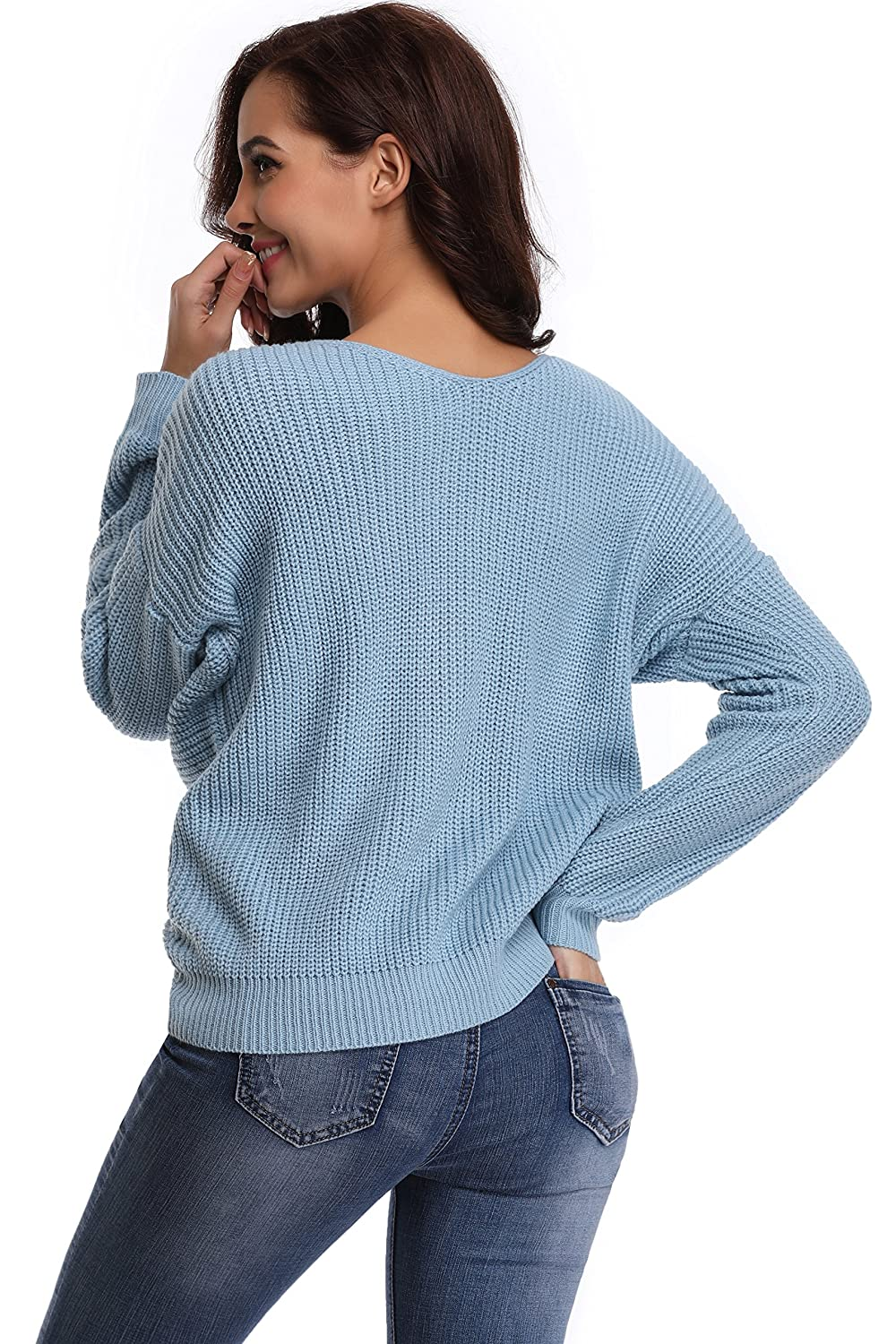 SHEKINI Women/'s Knitted Sweater V Neck Knitwear Top Twisted Backless Reversible Pullover Jumper Long Batwing Sleeve Dropped Shoulders