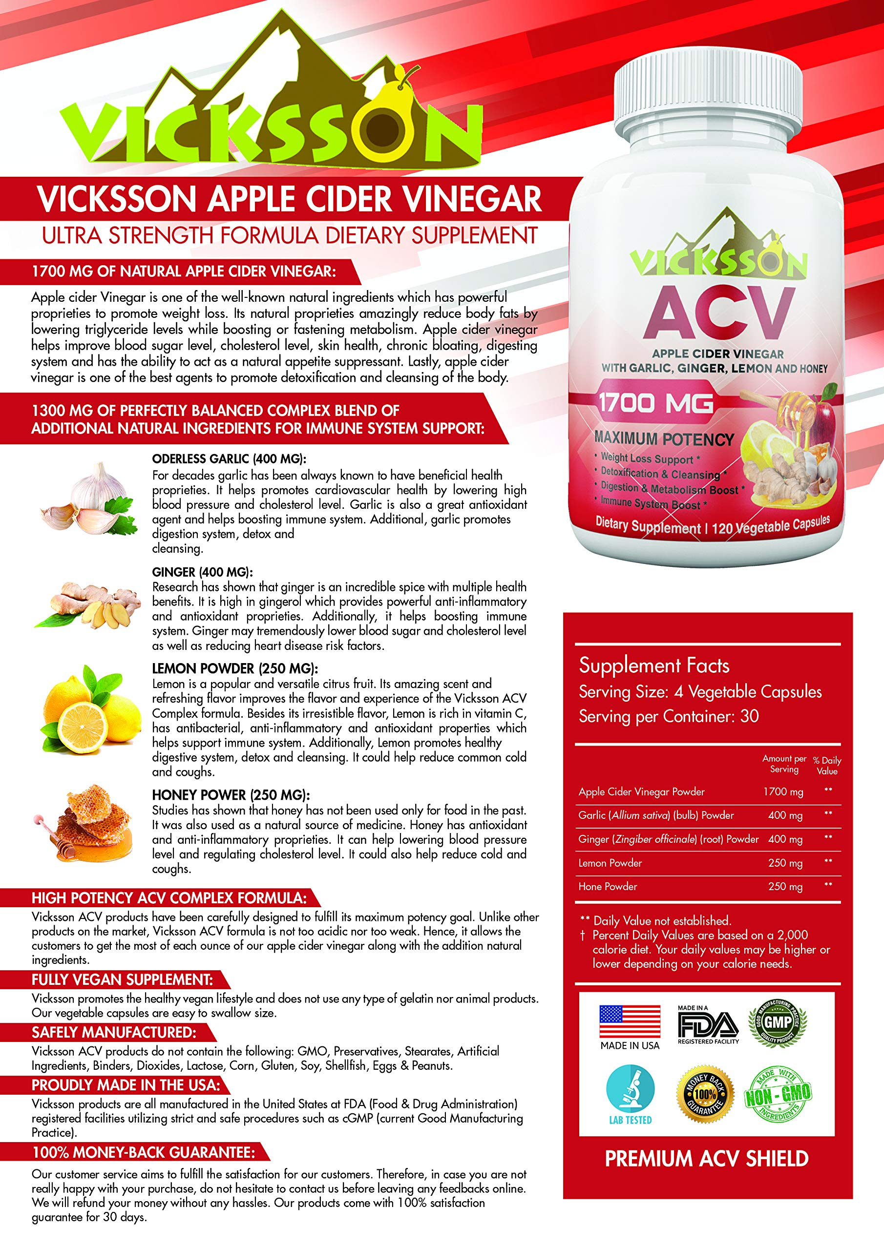 Vicksson Apple Cider Vinegar Pills 1700 mg of ACV with Garlic, Ginger, Lemon & Honey for Weight Loss, Detox, Cleanse, Appetite Suppressant, Metabolism & Immune Booster, Bloating Relief | 120 Capsules