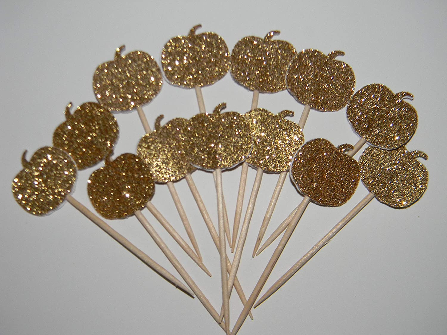 Set of 24 Gold glitter Halloween pumpkin fall baby shower cupcake toppers party picks