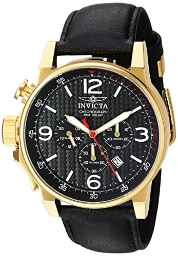 Invicta Men s I-Force Quartz Stainless Steel and Black Leather Casual Watch Model 20135
