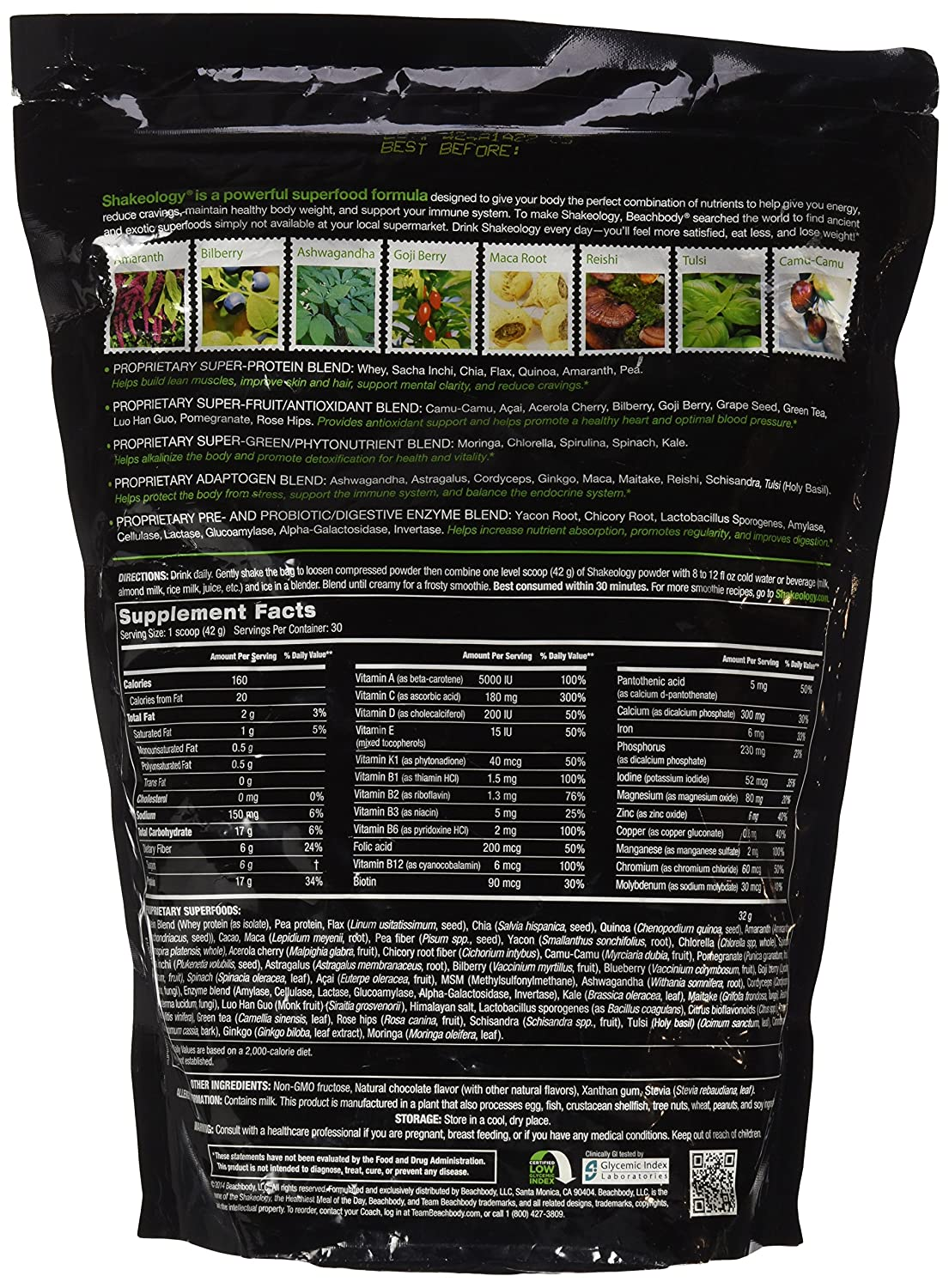 Amazon.com: Shakeology Chocolate 30 Servings (bulk) in a BAG ...