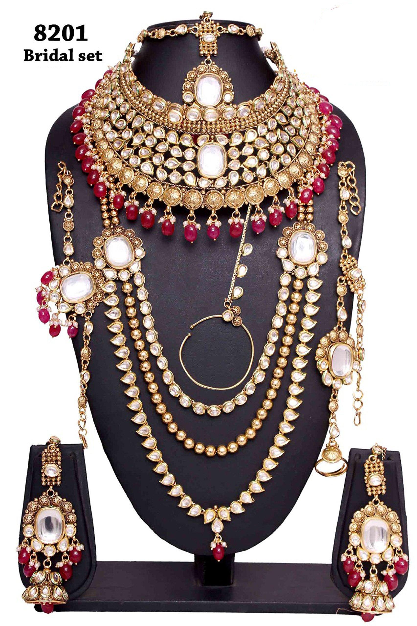 Wedding wear Amazing Style Golden Plated Kundan Stone Polki Indian Necklace Earrings Bridal Set Jewelry