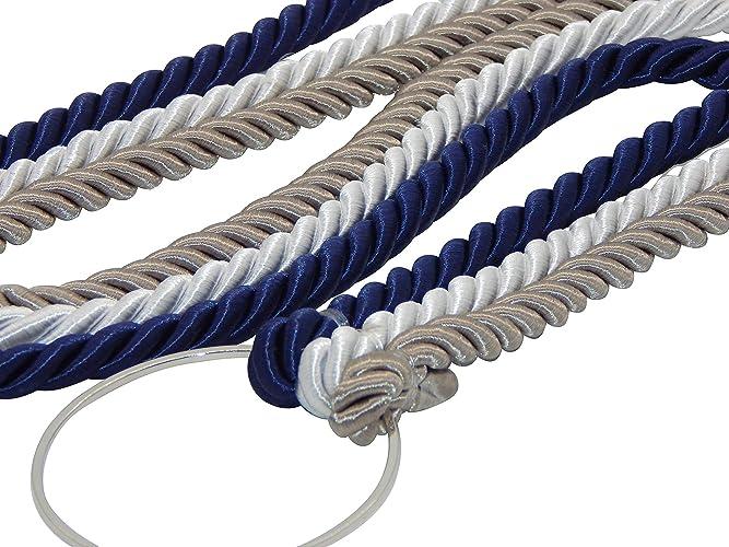 The Wedding Knot.Cord Of Three Strands Wedding Knot Ceremony Rope Dark Silver White Navy 3 8 Braids