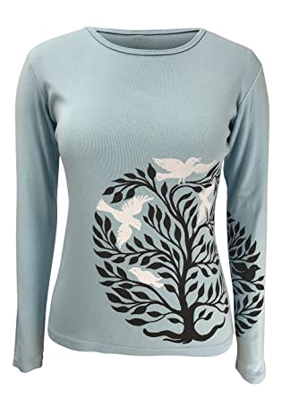 ea3150d7b0 Amazon.com: Green 3 Tree of Life Long Sleeve Tee (Light Blue) - 100 ...