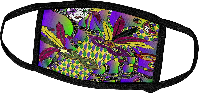 3dRose Lee Hiller Designs Holidays Mardi Gras - Mardi Gras Feather Masks Print - Face Masks (fm_44958_3)