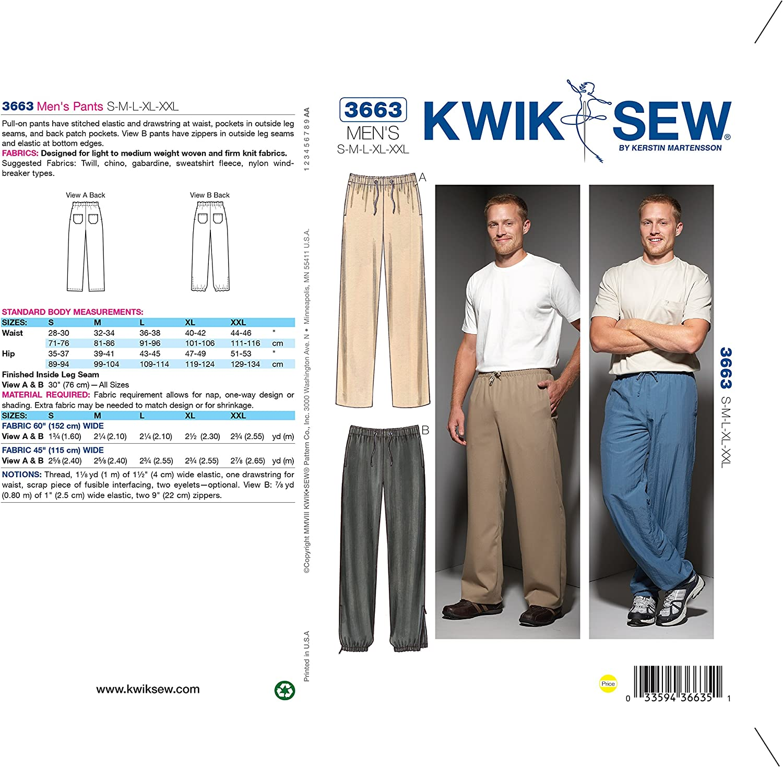 XXL Pantaloncini da uomo un. Kwik Sew Patterns K4045 OS taglie small-medium-large-XL